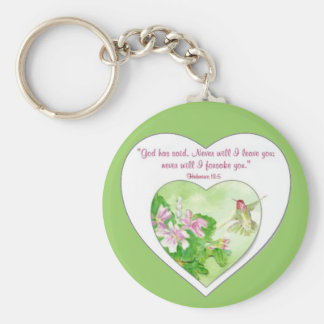 Scripture Hebrews 19:5 Never will I leave You Keychain