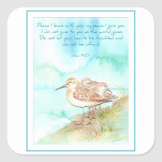 Scripture, Inspiration, John 14:27, Beach Bird Square Sticker