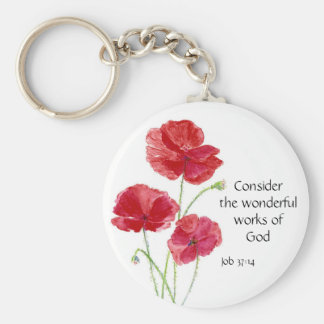 Scripture, Inspirational, Quote, Flower, Poppy Keychain