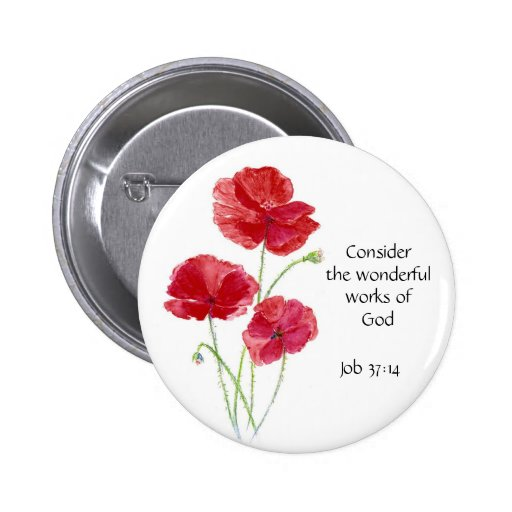 Scripture, Inspirational, Quote, Flower, Poppy Pin