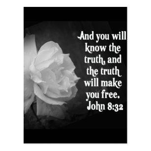 Scripture black white postcards zazzle scripture john 832 black white flowers postcard mightylinksfo