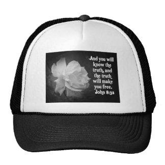 SCRIPTURE John 8:32  Black / White Flowers Trucker Hat