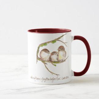 Scripture, Not one Forgotten, Cute Bird Sparrow Mug