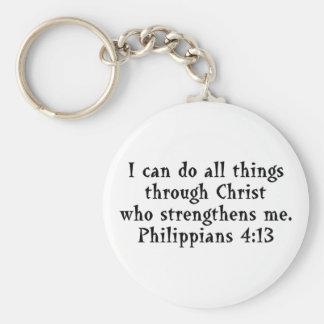 scripture Phil 4:13 Basic Round Button Keychain