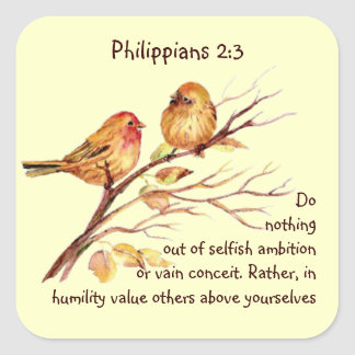 Scripture Philippians 2:3 Love Humility Birds Square Sticker