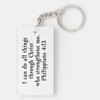 scripture Philippians 4:13 Double-Sided Rectangular Acrylic Keychain