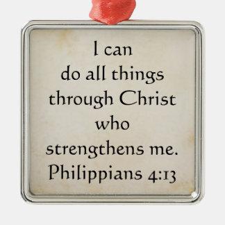 scripture Philippians 4:13 Square Metal Christmas Ornament