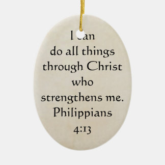 scripture Philippians 4:13 Double-Sided Oval Ceramic Christmas Ornament
