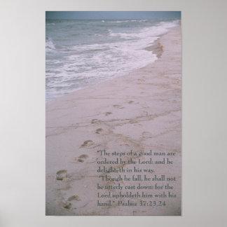 Scripture poster -- footprints on shoreline