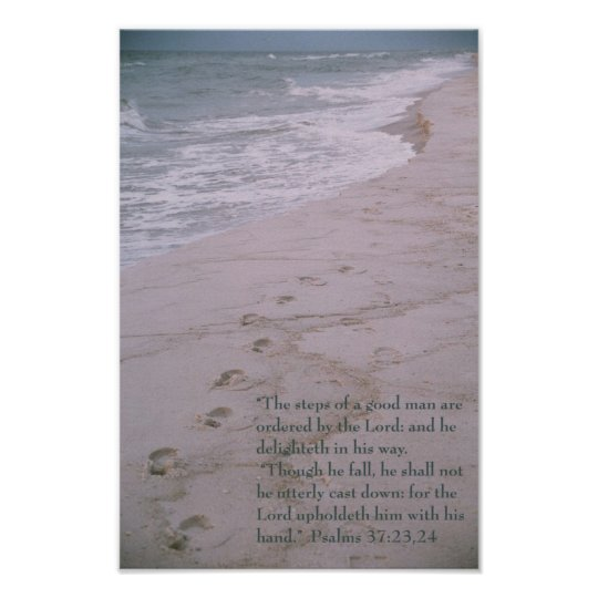 Scripture Poster Footprints On Shoreline Zazzle Com