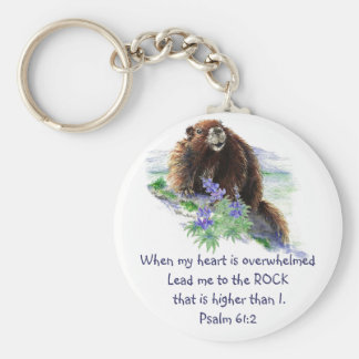 Scripture Psalm 61:2 Encouraging Watercolor Animal Keychain