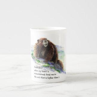 Scripture Psalm 61:2 Encouraging Watercolor Animal Tea Cup