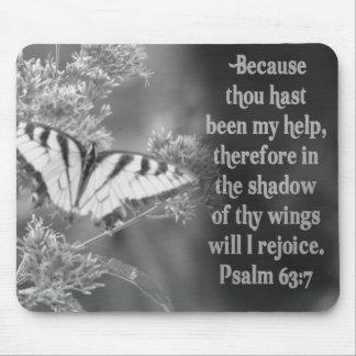 SCRIPTURE PSALM 63:7 W/ BUTTERFLIES MOUSE PADS