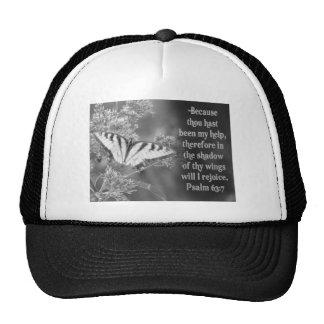 SCRIPTURE PSALM 63:7 W/ BUTTERFLIES TRUCKER HAT