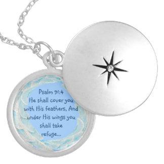 Scripture Psalm 91:4 Refuge Under His Wings Verse Round Locket Necklace