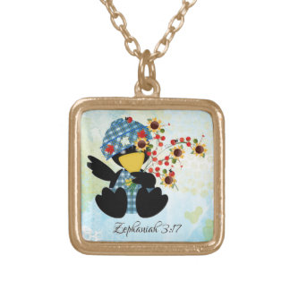 Scripture small gold finish necklace