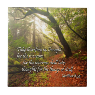 Scripture Tile: the future works itself out Small Square Tile