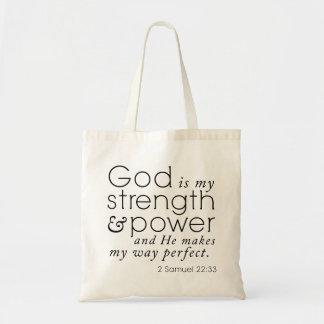 "Scripture Tote ""God is my strength"" 2 Samuel 22:33 Bag"