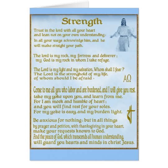 Scriptures for  strength Christian card