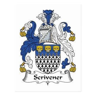 Scrivener Family Crest Postcard