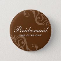 Scroll brown wedding name tag badge pin button