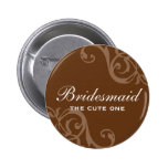 Scroll brown wedding name tag badge pin button