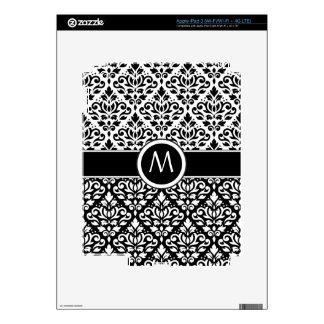 Scroll Damask 2Part Ptn BW & Band (Personalized) iPad 3 Skin