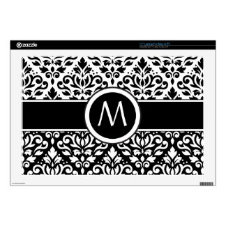 Scroll Damask 2Part Ptn BW & Band (Personalized) Laptop Decals