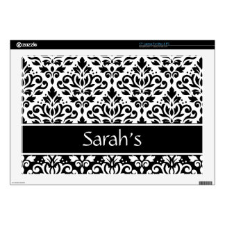 "Scroll Damask 2Pt Ptn BW & Band (Personalized) 17"" Laptop Skin"