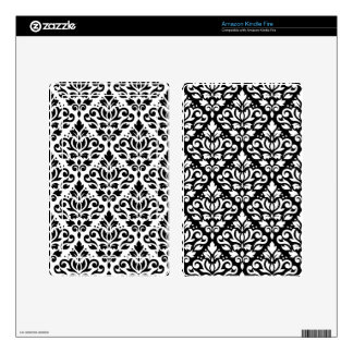 Scroll Damask 2Way Pattern Black & White (B) Decals For Kindle Fire