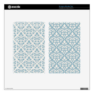 Scroll Damask 2Way Pattern Blue & Cream (A) Kindle Fire Decal