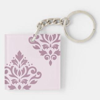 Scroll Damask Art I 2Way Pink & Mauve Keychain