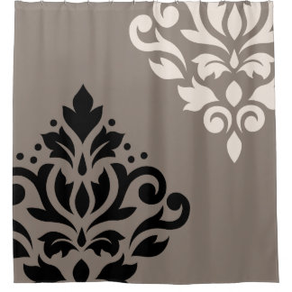 scroll damask art i black u0026amp cream on taupe shower curtain