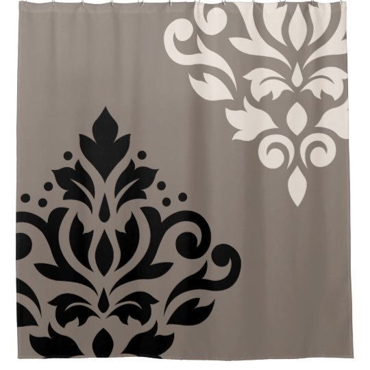 Scroll Damask Art I Black Cream On Taupe Shower Curtain