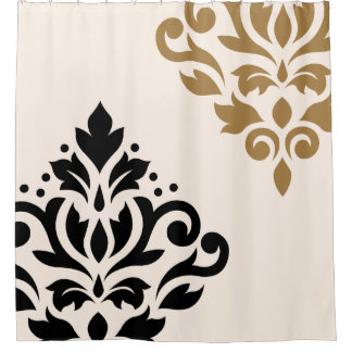Scroll Damask Art I Black  amp  Gold on Cream Shower CurtainCream And Black Shower Curtains   Zazzle. Black And Cream Shower Curtain. Home Design Ideas