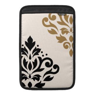 Scroll Damask Art I Black & Gold on Cream Sleeve For MacBook Air