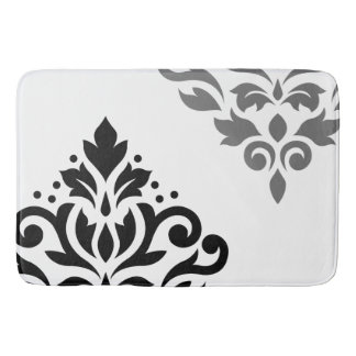 Black and white bath mats zazzle for Black and white damask bath mat