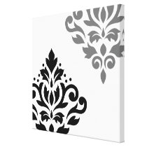 Scroll Damask Art I Black & Grey on White Canvas Print
