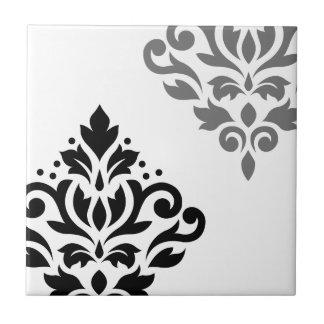 Scroll Damask Art I Black & Grey on White Ceramic Tile