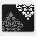Scroll Damask Art I Black Grey White Mouse Mat