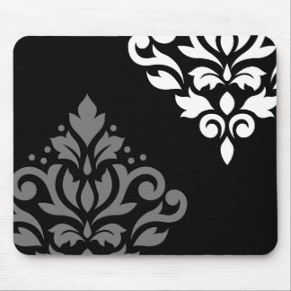 Scroll Damask Art I Black Grey White Mouse Pad