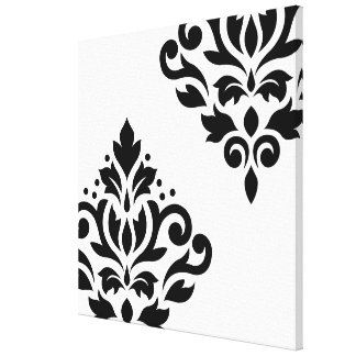 Scroll Damask Art I Black on White Canvas Print