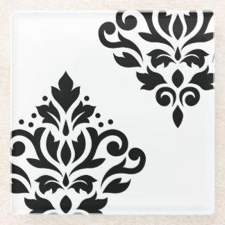 Scroll Damask Art I Black on White Glass Coaster