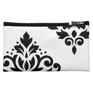 Scroll Damask Art I Black on White Makeup Bag
