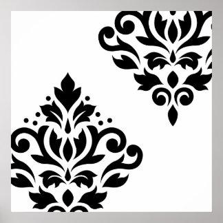 Scroll Damask Art I Black on White Poster