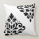 Scroll Damask Art I Black on White Throw Pillows
