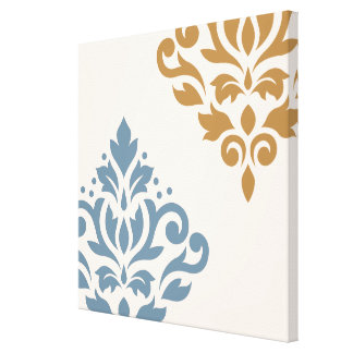 Scroll Damask Art I Blue Gold Cream Canvas Print