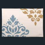 """Scroll Damask Art I Blue Gold Cream Placemat<br><div class=""""desc"""">Scroll and leaf damask with blue and gold color detail on a cream color background in a modern style art print.</div>"""