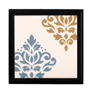 Scroll Damask Art I Blue & Gold on Cream Jewelry Box