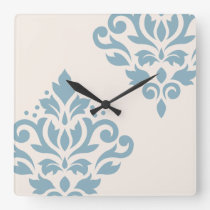 Scroll Damask Art I Blue on Cream Square Wall Clock
